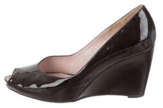 8f78c062621 Salvatore Ferragamo Patent Leather Peep-Toe Wedges