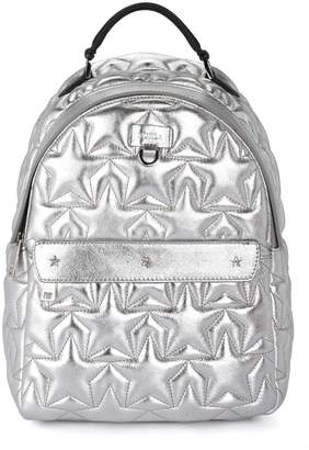 Furla Favola Silver Metal Quilted Leather Backpack