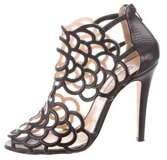 Oscar de la Renta Leather Laser Cut Sandals
