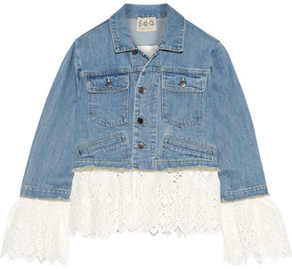 SEA - Broderie Anglaise Cotton-paneled Denim Jacket - Mid denim $595 thestylecure.com