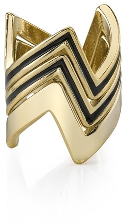 House of Harlow 1960 - 3 Stacked Jagged Rings - 14 Karat Yellow Gold Plated