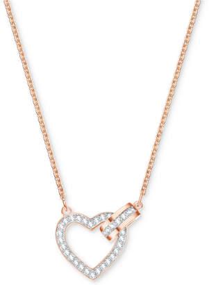 "Swarovski Rose Gold-Tone Crystal Interlocking Heart & Circle 16-1/2"" Pendant Necklace"