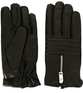Diesel zip detail leather gloves