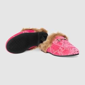 4c32f2cb4b5 Gucci Toddler Princetown GG velvet slipper