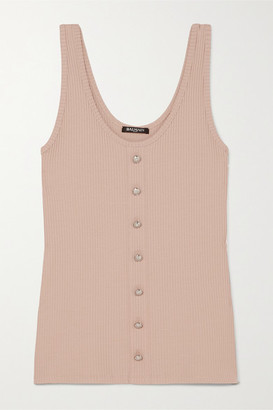 Balmain Button-embellished Ribbed Stretch-jersey Tank