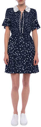 French Connection Ditsy Leaf-Print Flared Dress