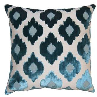 Square Feathers Sky Flowers Accent Pillow