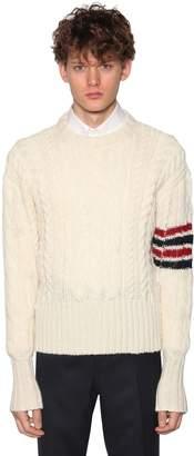 Thom Browne Mohair & Wool Aran Knit Sweater