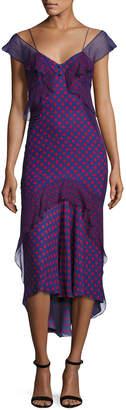 J. Mendel Ruffled Polka-Dot Chiffon Midi Dress, Multi
