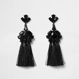 River Island Black jewel tassel drop earrings