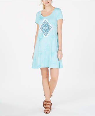 Style&Co. Style & Co Graphic Scoop-Neck T-Shirt Dress