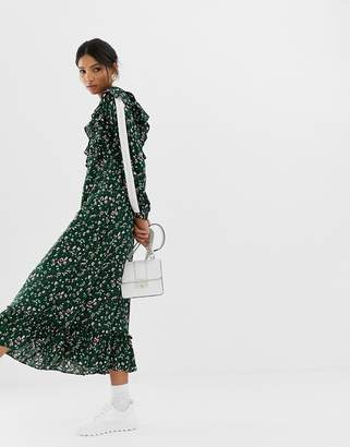 GHOSPELL midi smock dress with ruffle hem in ditsy floral