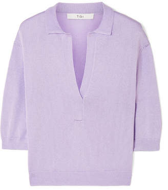 Tibi Metallic Stretch-knit Top - Lavender