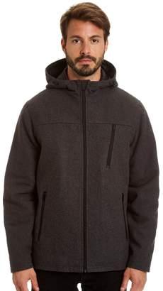 Haggar Big & Tall Stretch Wool-Blend Hooded Open-Bottom Jacket