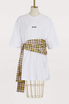 MSGM Plaid bow T-shirt