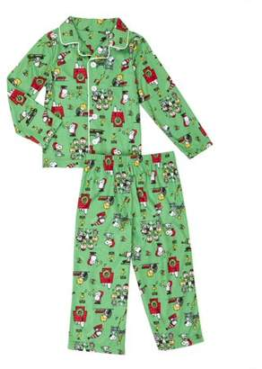 Peanuts Snoopy and Friends Christmas Button-up Coat Style Classic Pajamas, 2pc Set (Toddler Boys)