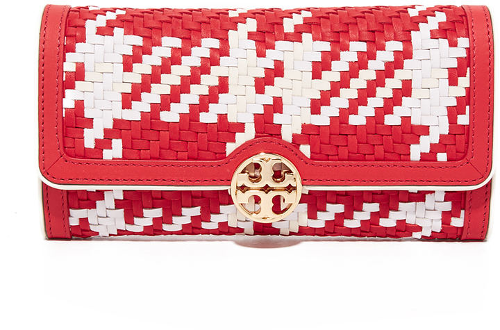 Tory Burch Tory Burch Woven Leather Envelope Wallet