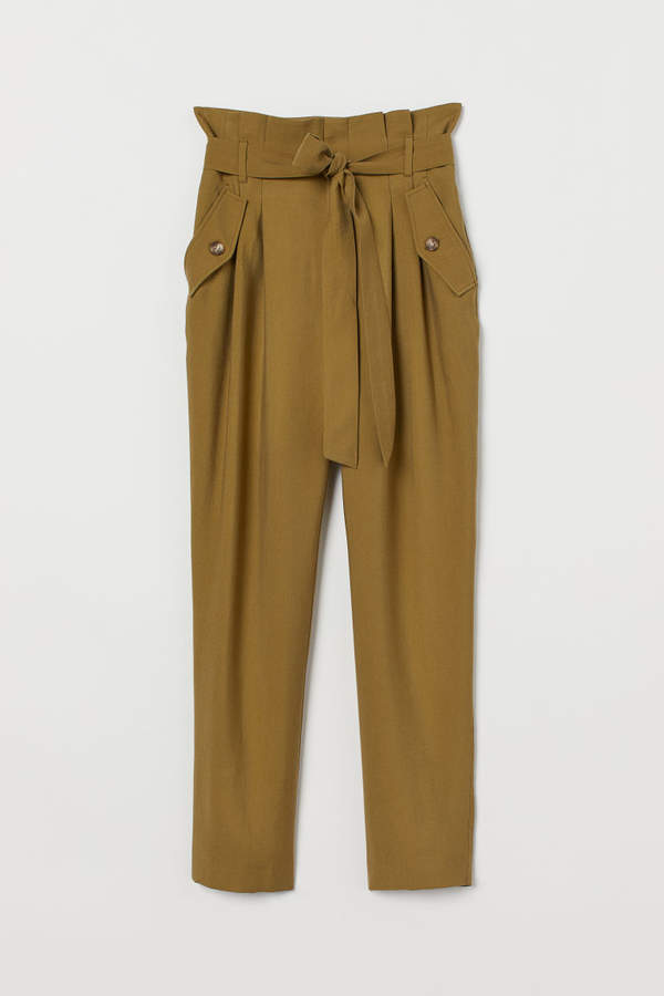 H&M - Pants with Tie Belt - Green