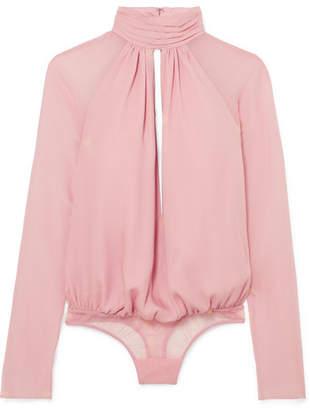Fleur Du Mal Cutout Silk-chiffon And Stretch-tulle Turtleneck Thong Bodysuit - Blush