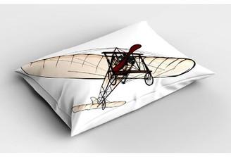 East Urban Home Ambesonne Vintage Airplane Pillow Sham, Old Fashioned Plane Engine Flight Illustration Print, Decorative Standard Standard Size Printed Pillowcase, 26