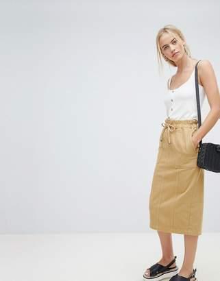 Asos Design DESIGN denim paperbag midi skirt in stone
