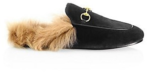 Gucci Women's Princetown Fur-Lined Velvet Slipper