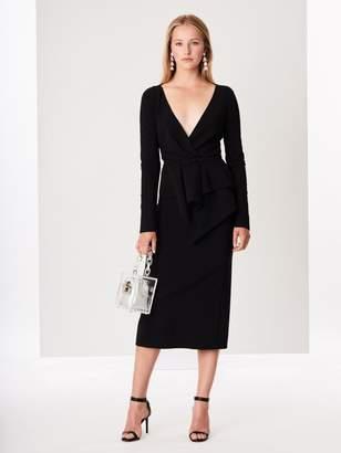 Oscar de la Renta Peplum Double-Face Stretch-Wool Pencil Dress