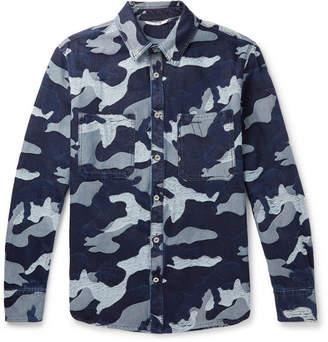 Valentino Distressed Camouflage-Jacquard Denim Overshirt - Men - Blue