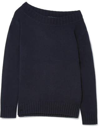 Vince One-shoulder Wool And Cashmere-blend Sweater - Navy