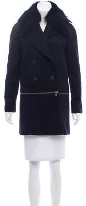 Veronica Beard Fur Trimmed Wool & Cashmere-Blend Coat