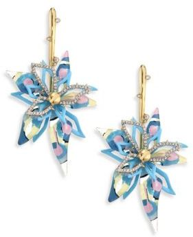 Alexis Bittar Lucite Large Abstract Poppy-Print Flower Earrings $395 thestylecure.com