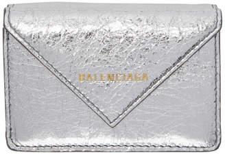 Balenciaga Silver Mini Papier Wallet