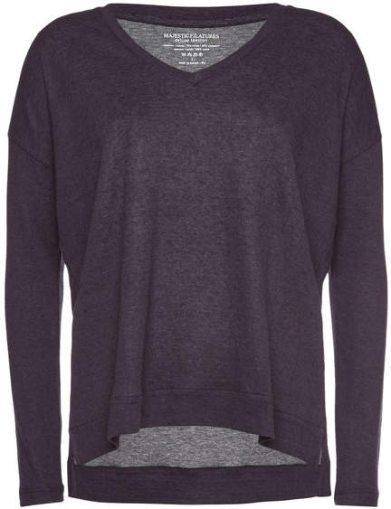 Majestic V-Neck Top in Cotton and Cashmere