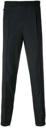 Kris Van Assche micro polka-dot elastic trimmed trousers