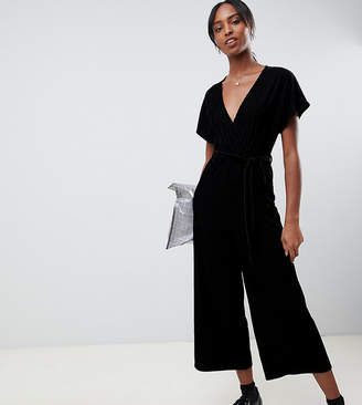 New Look Tall velvet wrap jumpsuit in black