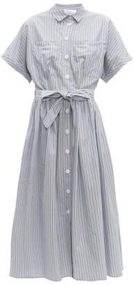 Loup Charmant Pamlico Striped Cotton Poplin Midi Dress - Womens - Blue White