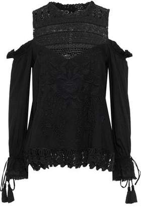Love Sam Shang Hai Cold-Shoulder Crochet-Paneled Embroidered Gauze Blouse