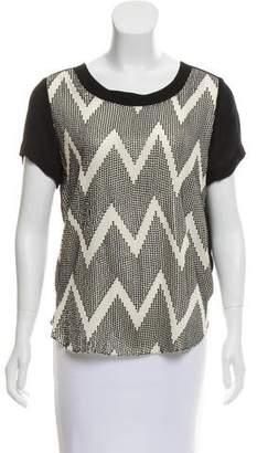 L'Agence Silk Sequin Embellished Top