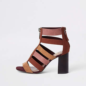 River Island Womens Beige colour block caged block heel