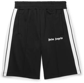 Palm Angels Wide-Leg Webbing-Trimmed Logo-Print Jersey Shorts