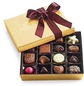 Godiva Chocolatier Assorted Chocolate Gold Gift Box, Wine Ribbon, 19 pc.