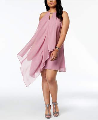 Kensie Plus Size Metallic Draped Chiffon Halter Dress