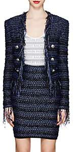 Balmain Women's Frayed Tweed Cardigan Jacket - Blue