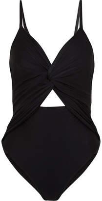 Johanna Ortiz - Cutout Twist-front Satin-jersey Bodysuit - Black