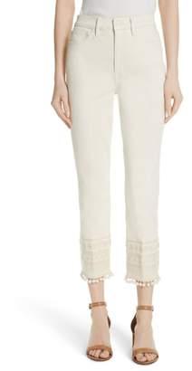 Tory Burch Lana Embellished Hem Jeans
