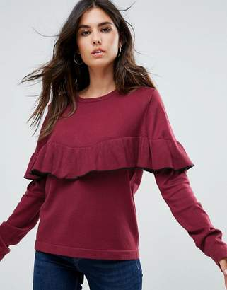 Liquorish Sweater With Ruffle Trim