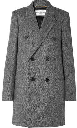 Saint Laurent Double-breasted Herringbone Wool Coat - Gray