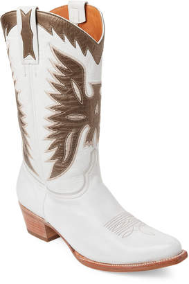 Frye White & Bronze Carrie Firebird Mid Western Boots