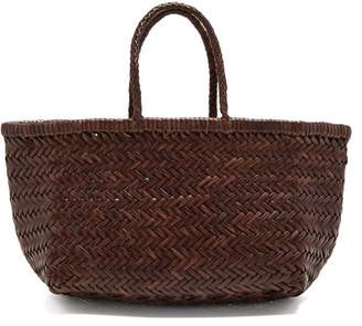 Dragon Optical Diffusion - Triple Jump Woven Leather Basket Bag - Womens - Dark Brown