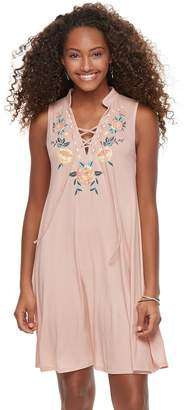 Living Doll Juniors' Lace-Up Floral Swing Dress